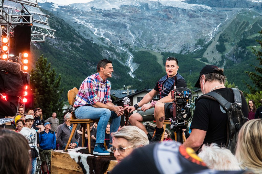Roman Kilchsberger und Andreas Gabalier auf Sendung